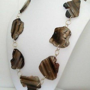 Barse Silver Brown Agate Stone Necklace